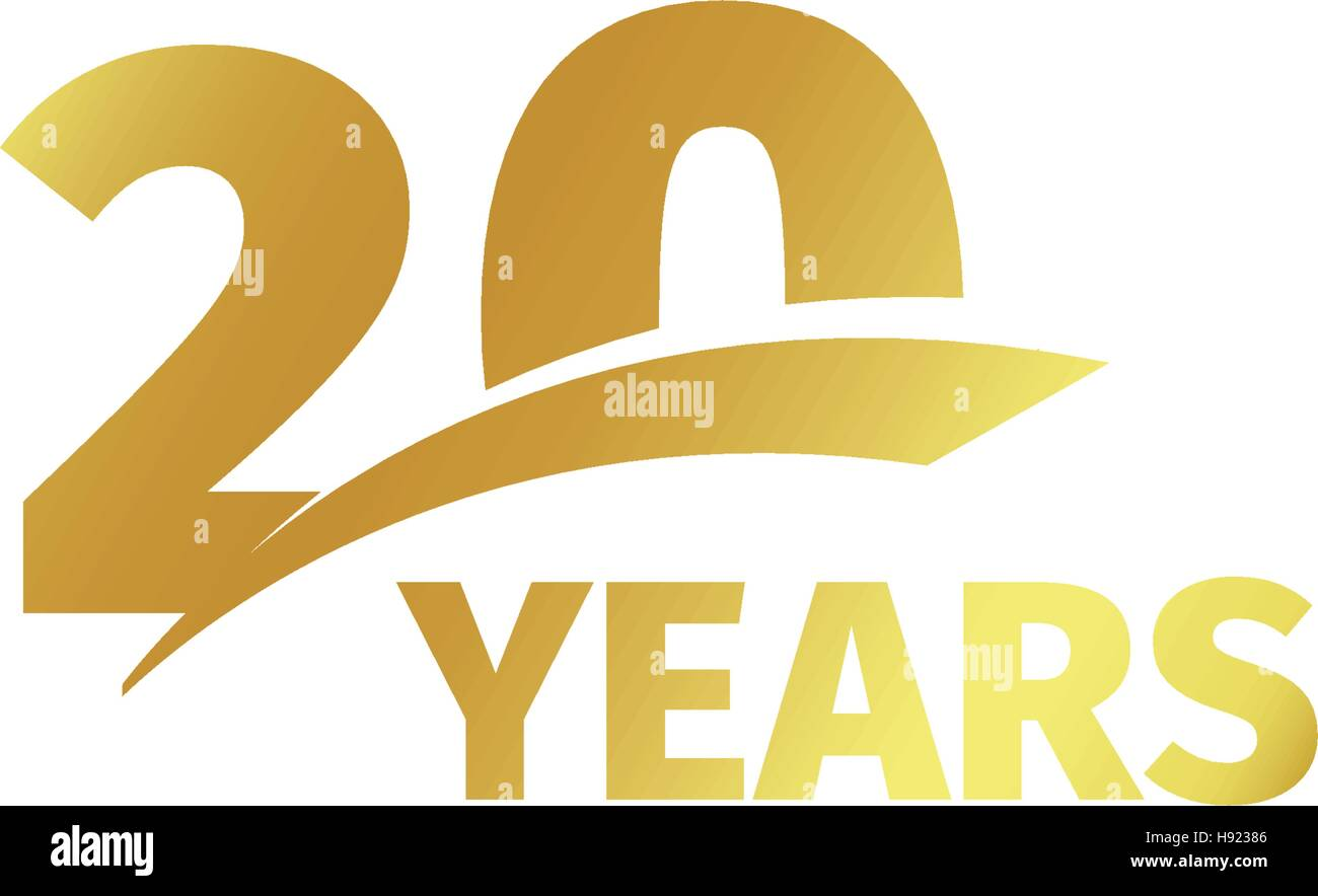 Isolated Abstract Golden 20th Anniversary Logo On White Background