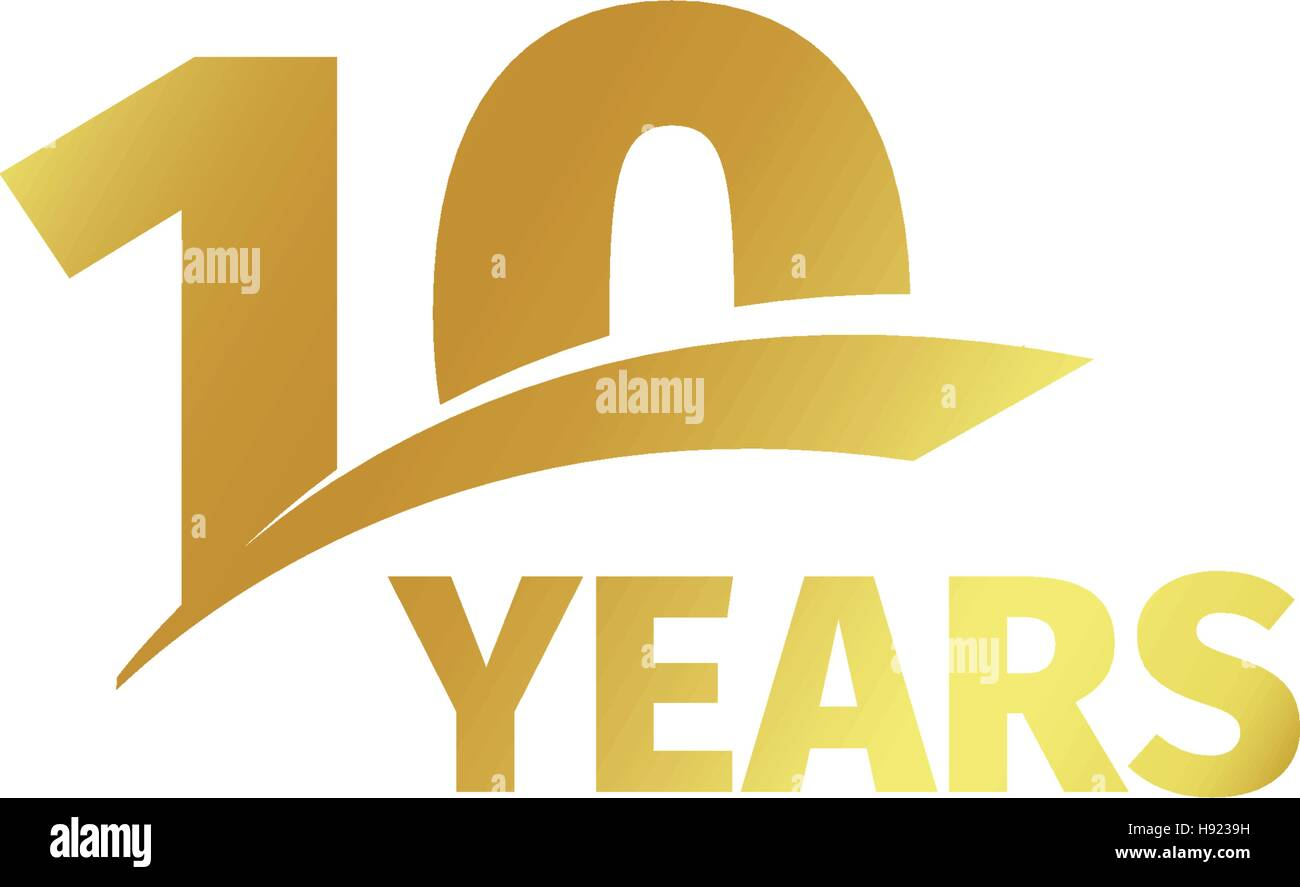 Isolated abstract golden 10th anniversary logo on white background. 10 number logotype. Ten years jubilee celebration - Stock Vector