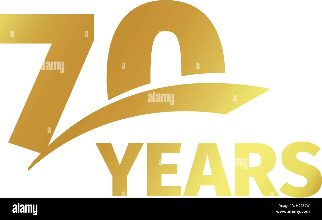 Isolated abstract golden 70th anniversary logo on white background. 70  number logotype. Seventy years jubilee celebration icon. Seventieth  birthday emblem.