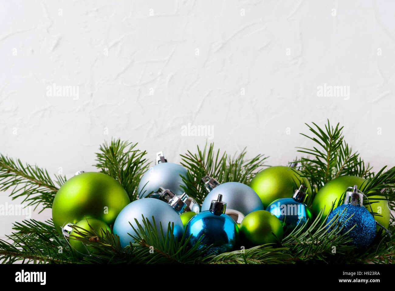 Christmas Background With Blue Green And Glitter Ornaments Party Decoration Shiny Bauble Hanging Copy Space