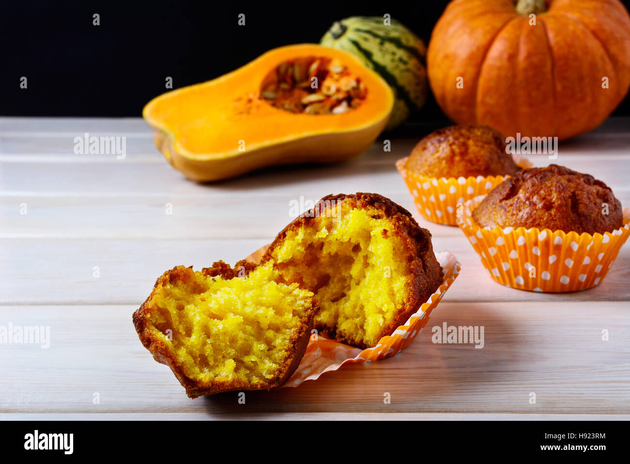 Healthy spiced butternut squash muffins. Fall seasonal vegetable food. Thanksgiving homemade sweet pastry. Stock Photo