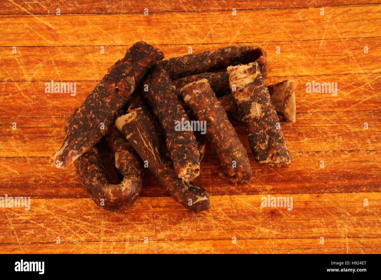 Droewors - dried sausage a traditional Afrikaner snack originated in South Africa - Stock Image