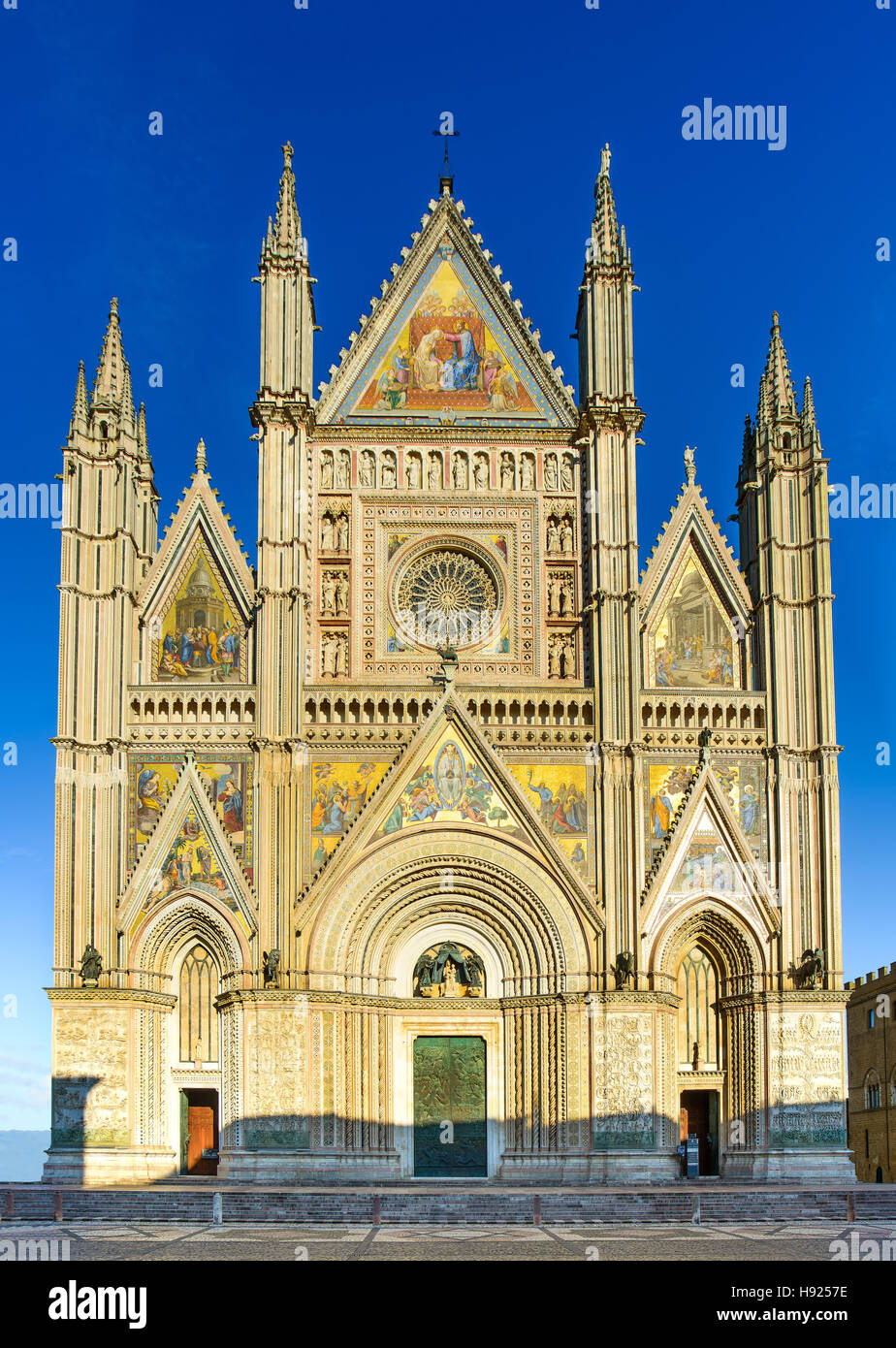 Orvieto medieval Duomo cathedral church landmark facade front view. Umbria, Italy, Europe. - Stock Image