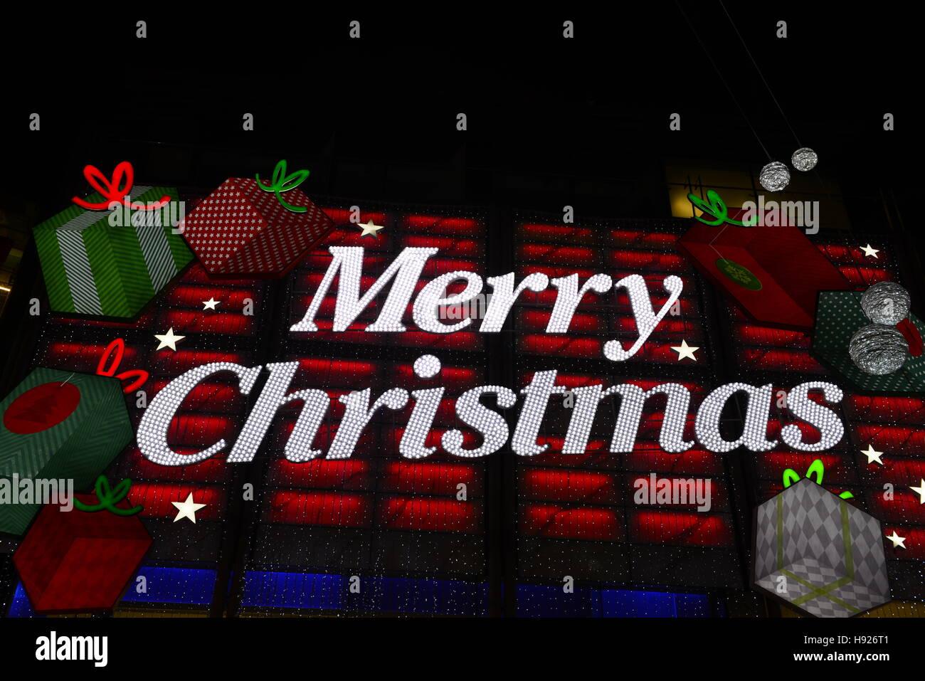 merry christmas neon lights stock image