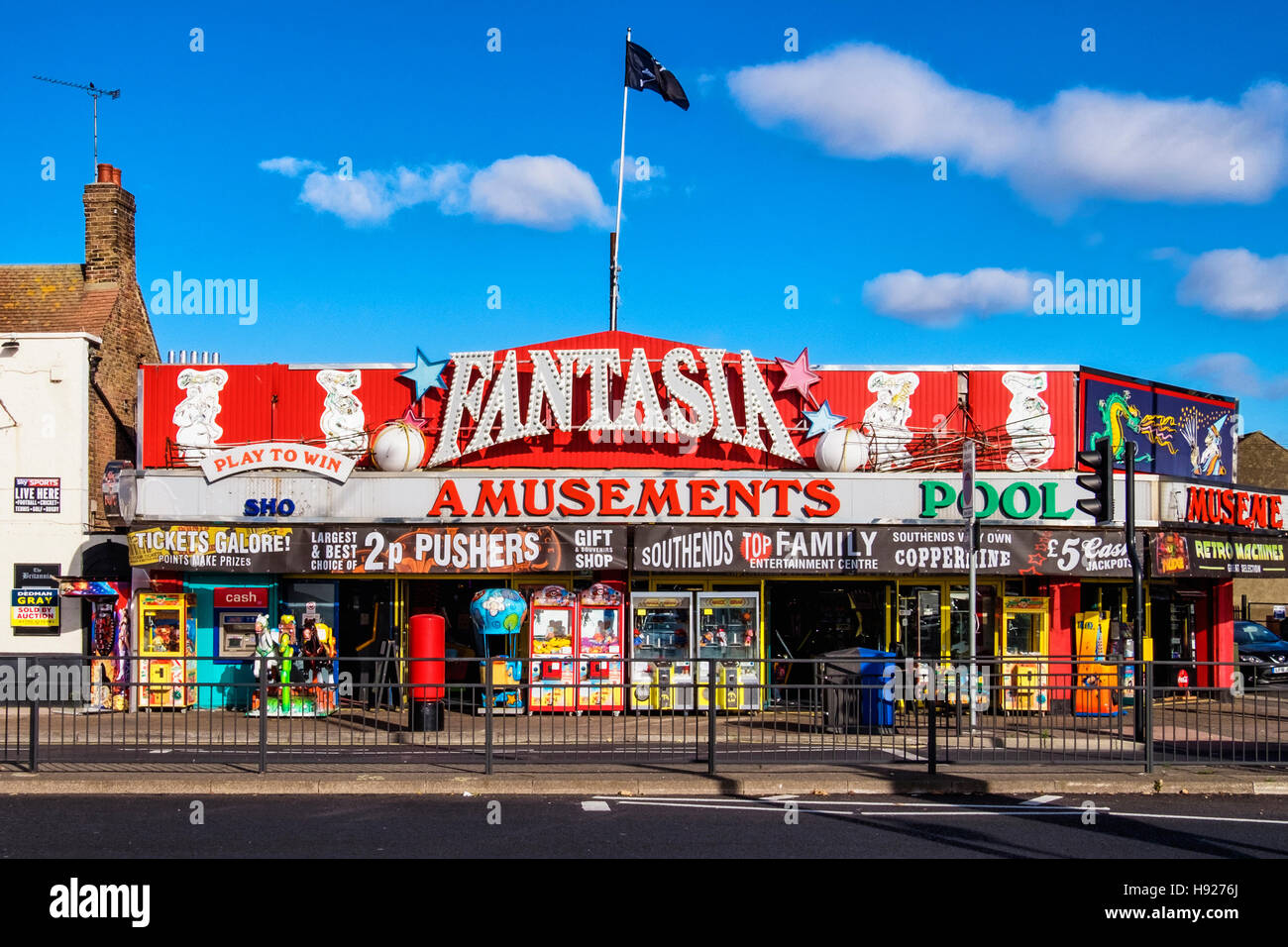 Fantasia amusement arcade for playing games, pool, slot machines and betting. Southend-on-sea, Essex,England - Stock Image