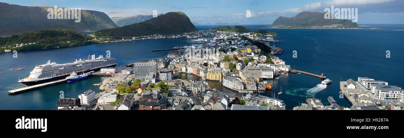 Alesund a small town in More og Romsdal county in Norway. - Stock Image