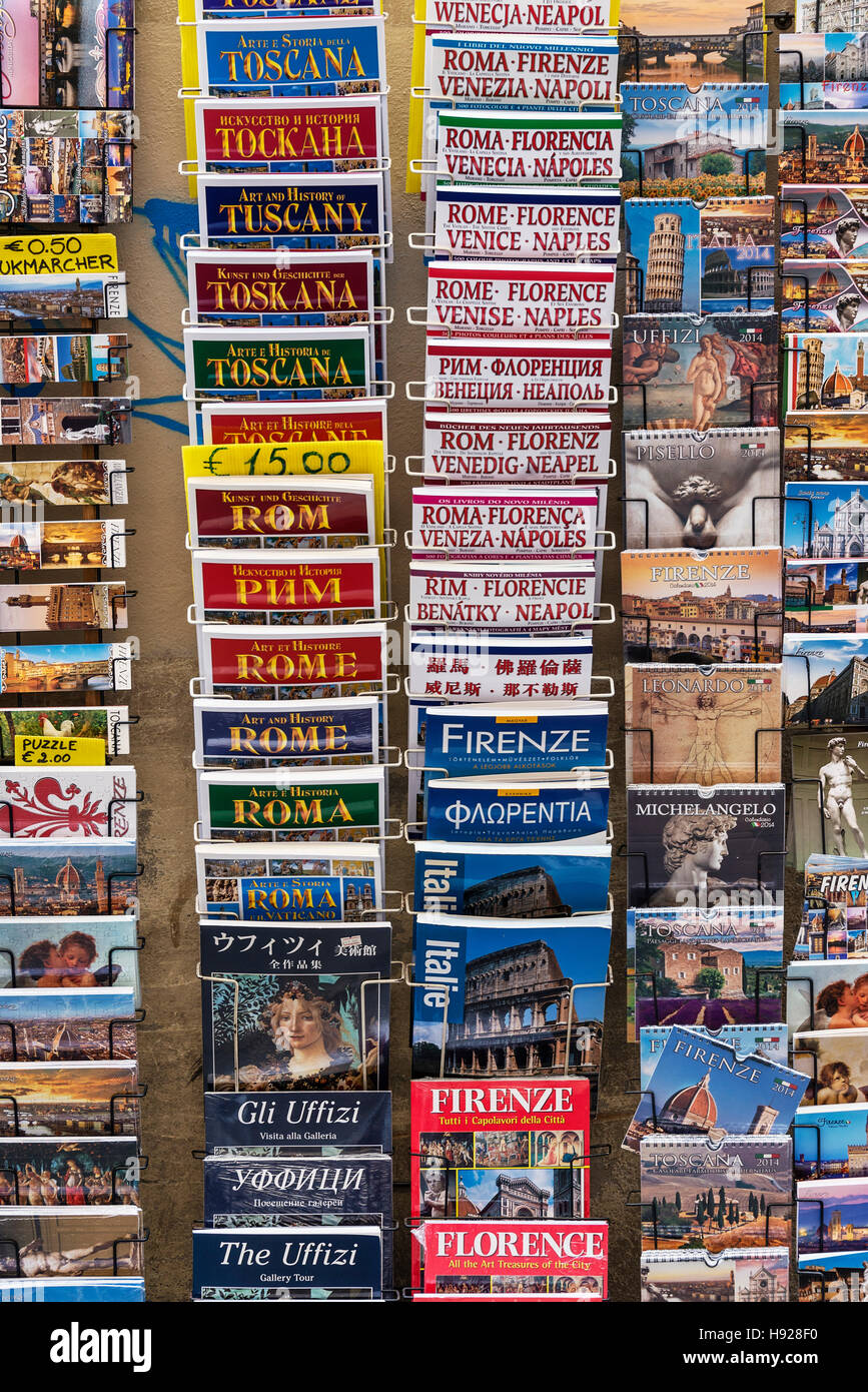 Variety of tourist travel guide books for Italian destinations. - Stock Image