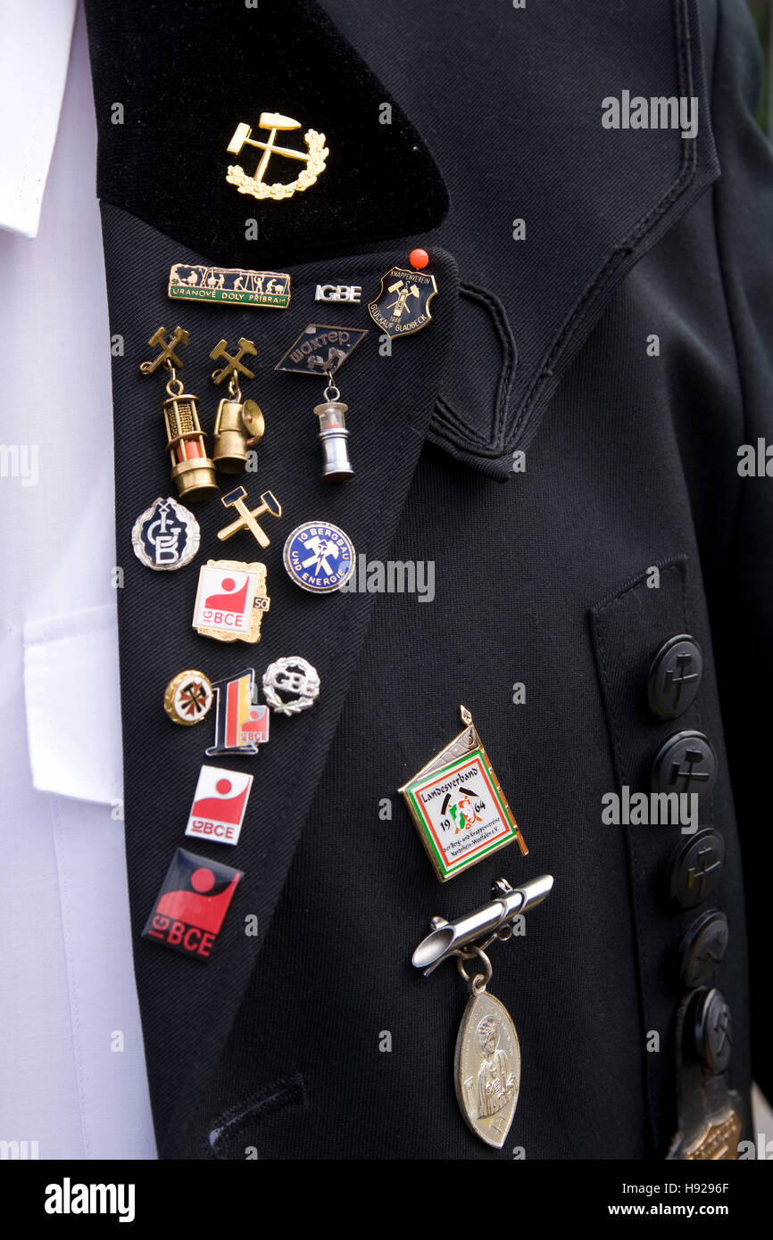 Germany,  Ruhr area, Witten, pins on a historical  miners uniform at the miners day at the former coal mine Nachtigall. - Stock Image