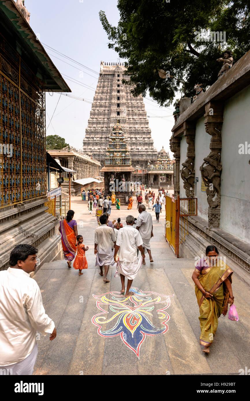 A Mandala at Arunachaleswar Temple in Tiruvannamalai. - Stock Image