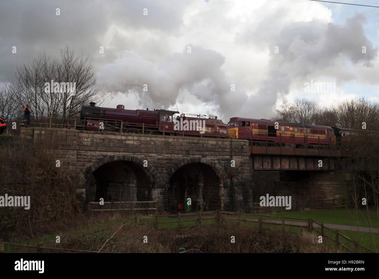 Steam train on East Lancs railway - Stock Image