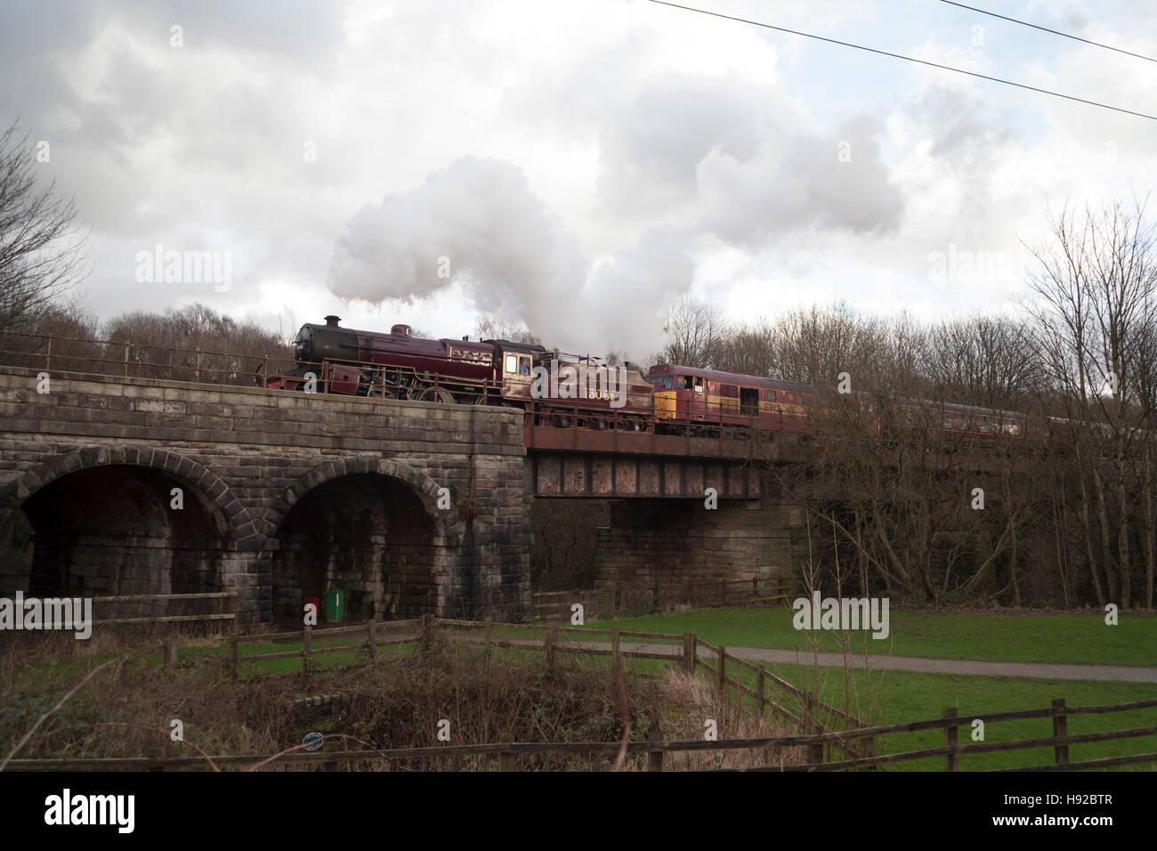 Steam train on East Lancs Railway Stock Photo