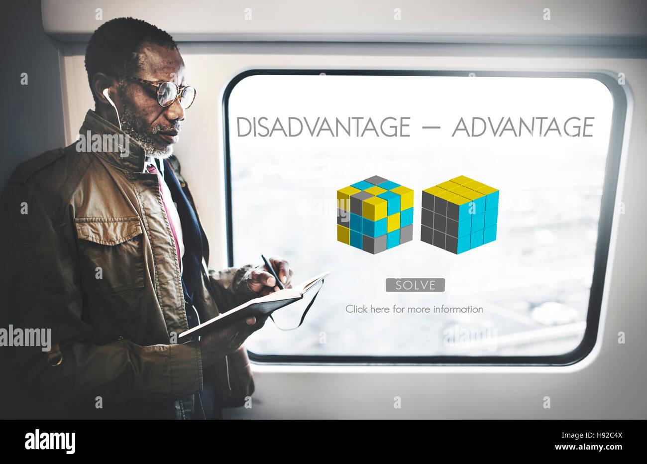 Advantage Disadvantage Comparison Solution Concept - Stock Image