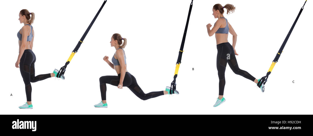 Athletic woman performing a functional exercise with