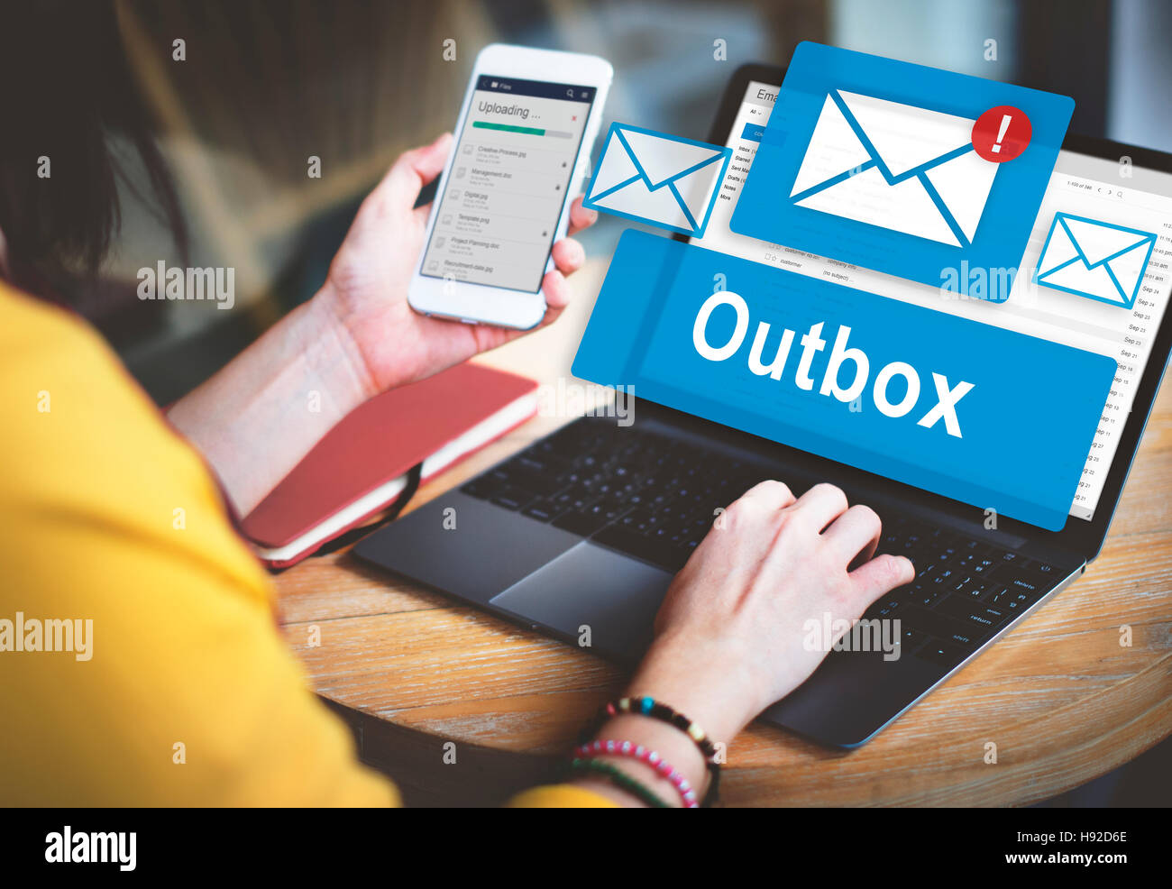 Outbox Business Communication Envelope Mail Concept - Stock Image