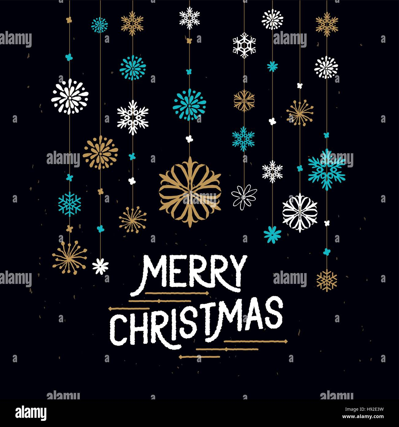 Merry Christmas Decorations. Hanging snowflakes and merry christmas sign. Vector illustration. - Stock Image