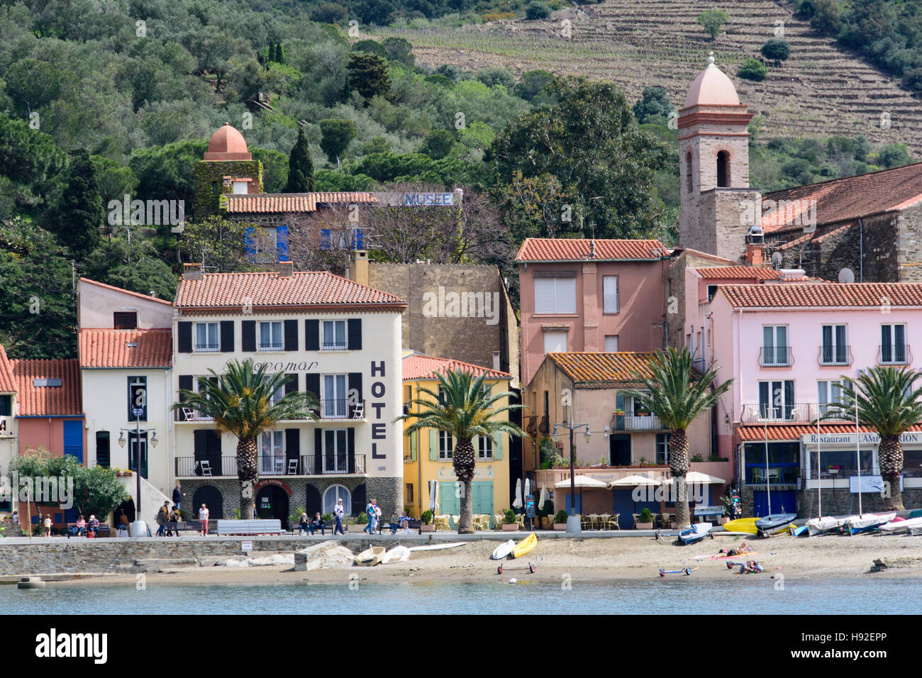 Hotels along the bay of Collioure. France - Stock Image