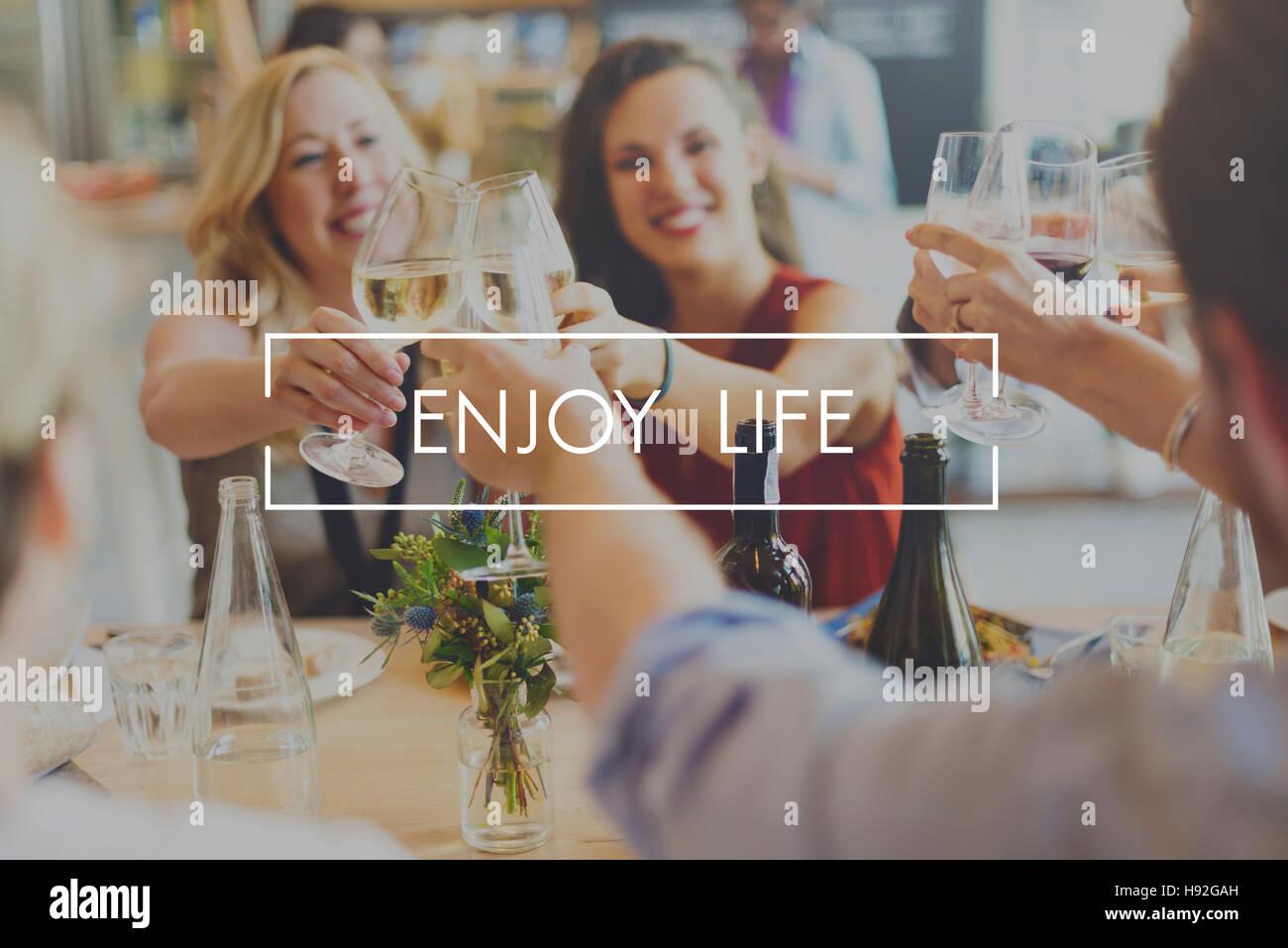 Enjoy Life Enjoyment Happiness Joy Concept - Stock Image