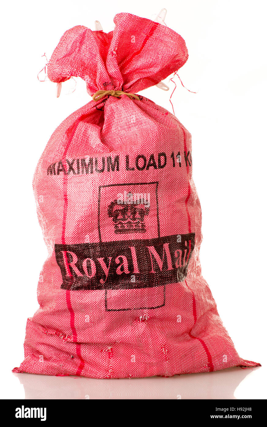 Royal mail sack - Red - Stock Image