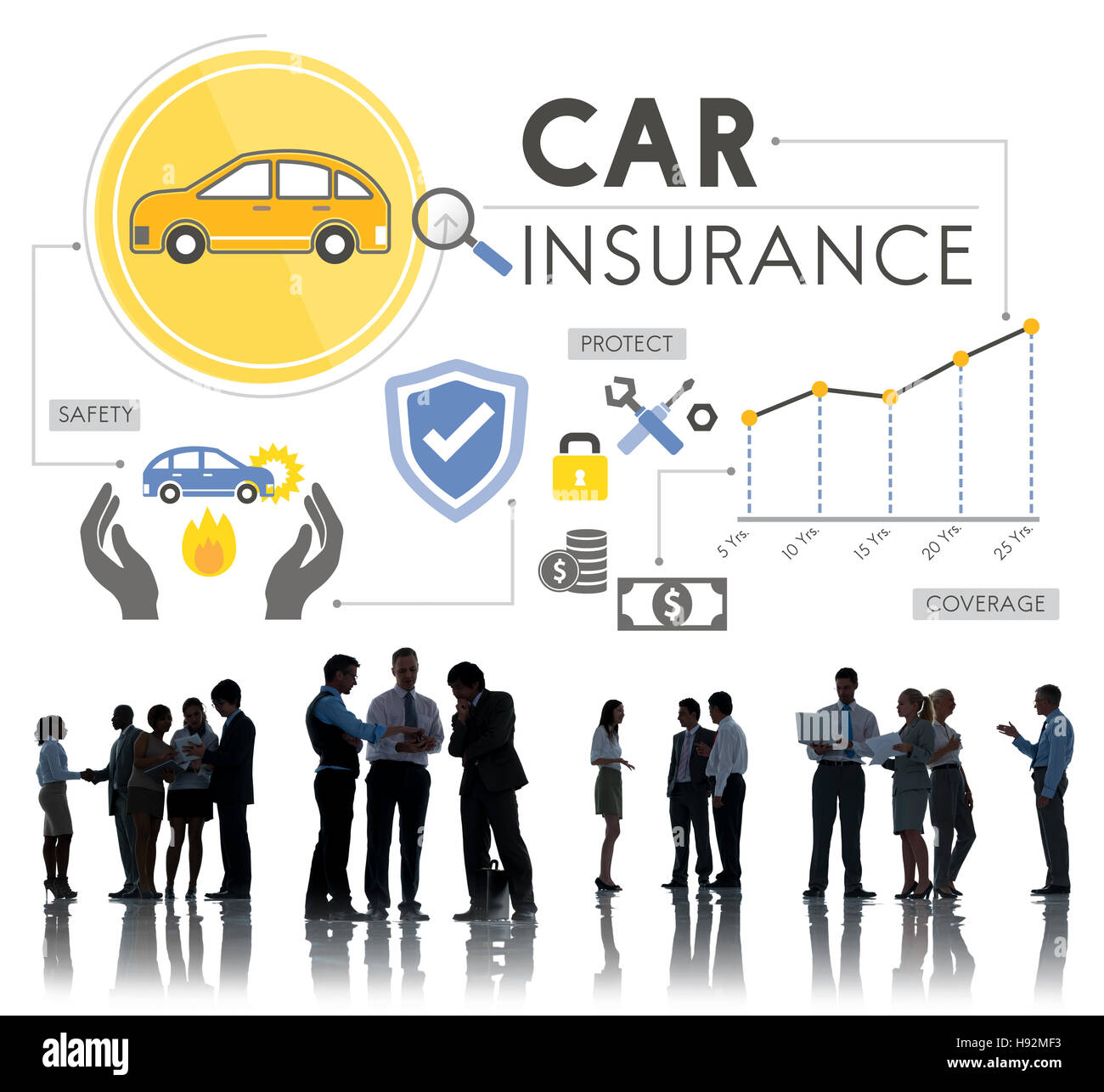 Car Insurance Policies Safety Coverage Concept - Stock Image