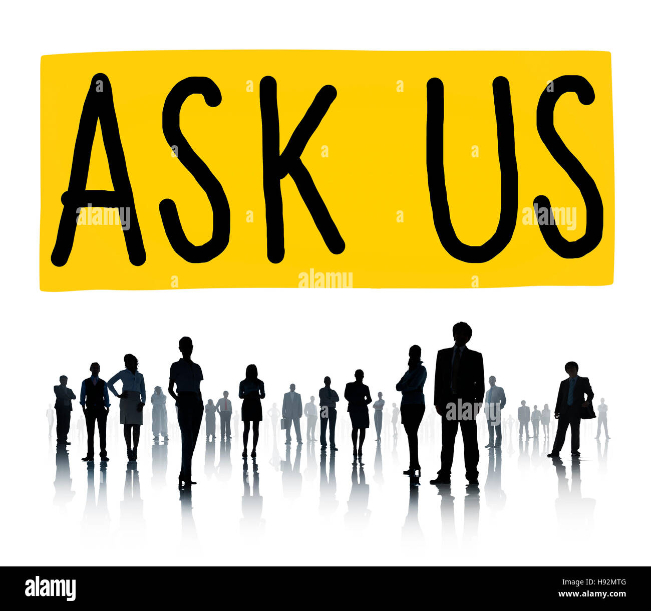 Ask Us Inquiries Questions Concerns Contact Concept - Stock Image