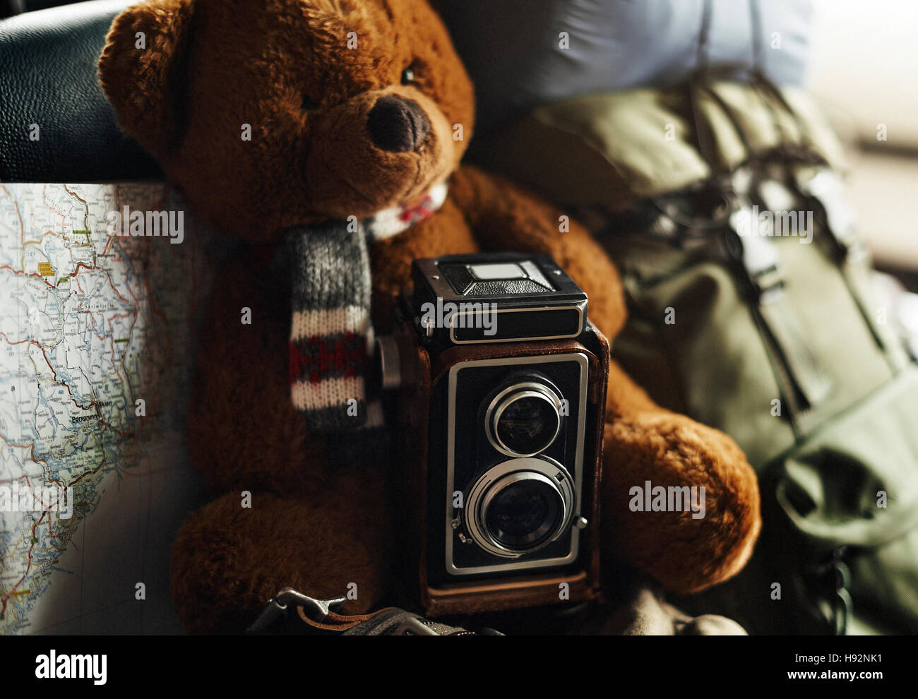 Camera Vintage Map Photograph Location Style Concept - Stock Image
