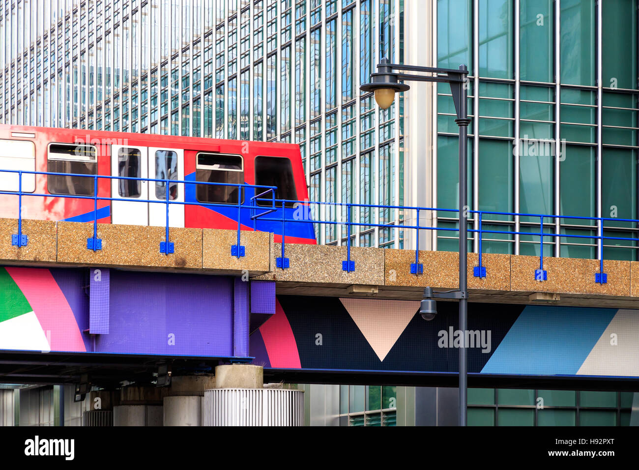 Docklands Light Railway in Canary Wharf - Stock Image
