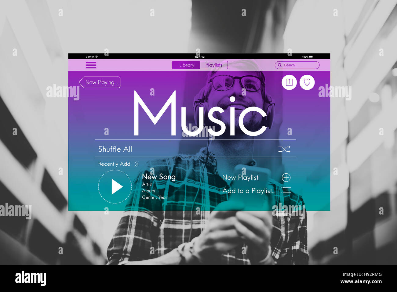 Music Streaming Instrumental Playlist Podcast Concept Stock