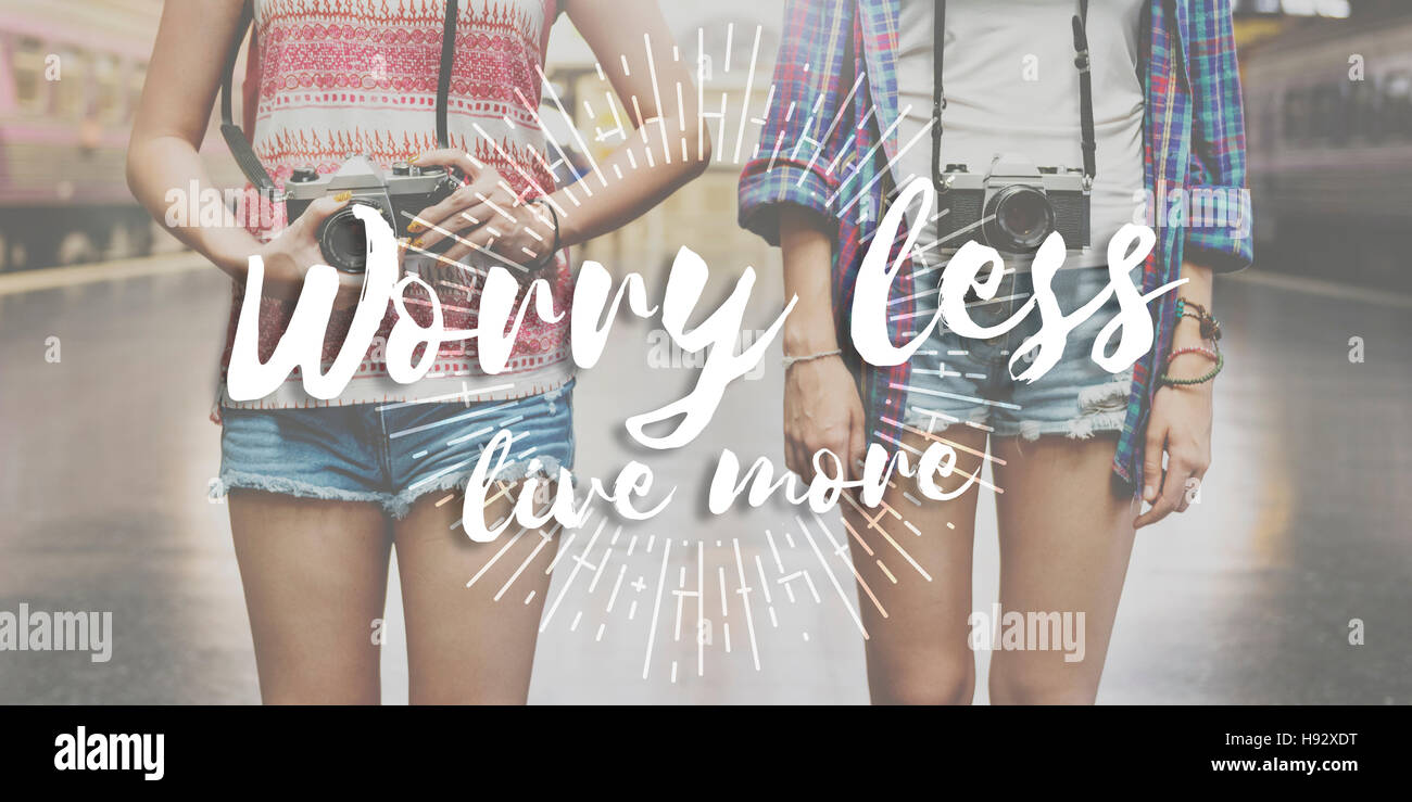 Worry Less Live More Attitude Emotion Happiness Concept - Stock Image