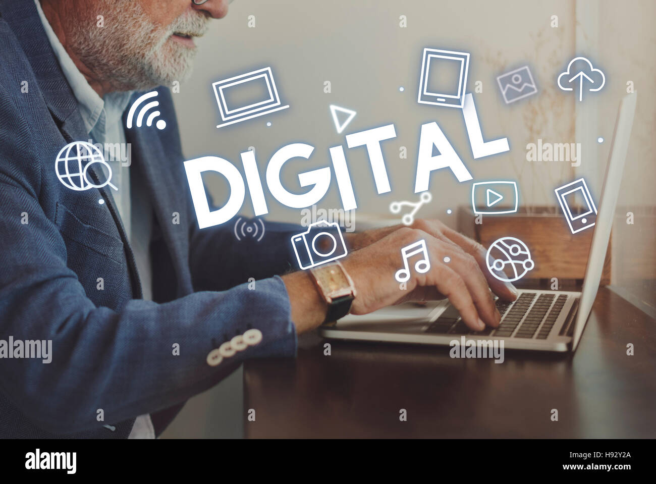 Digital Technology Icons Graphic Concept - Stock Image