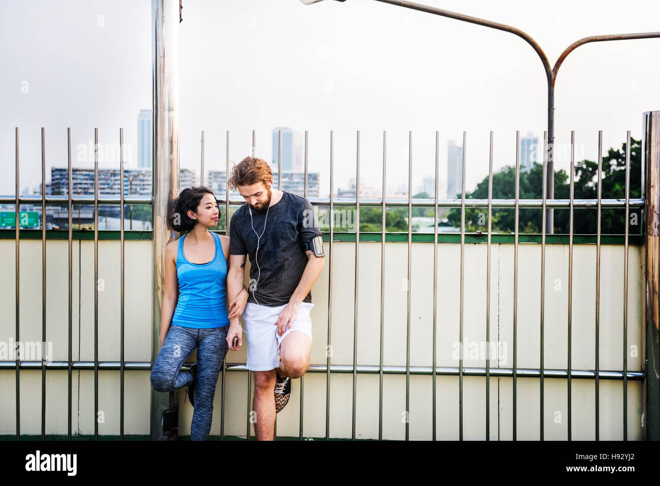 Couple Excercise Workout Healthy Lifestyle Concept - Stock Image