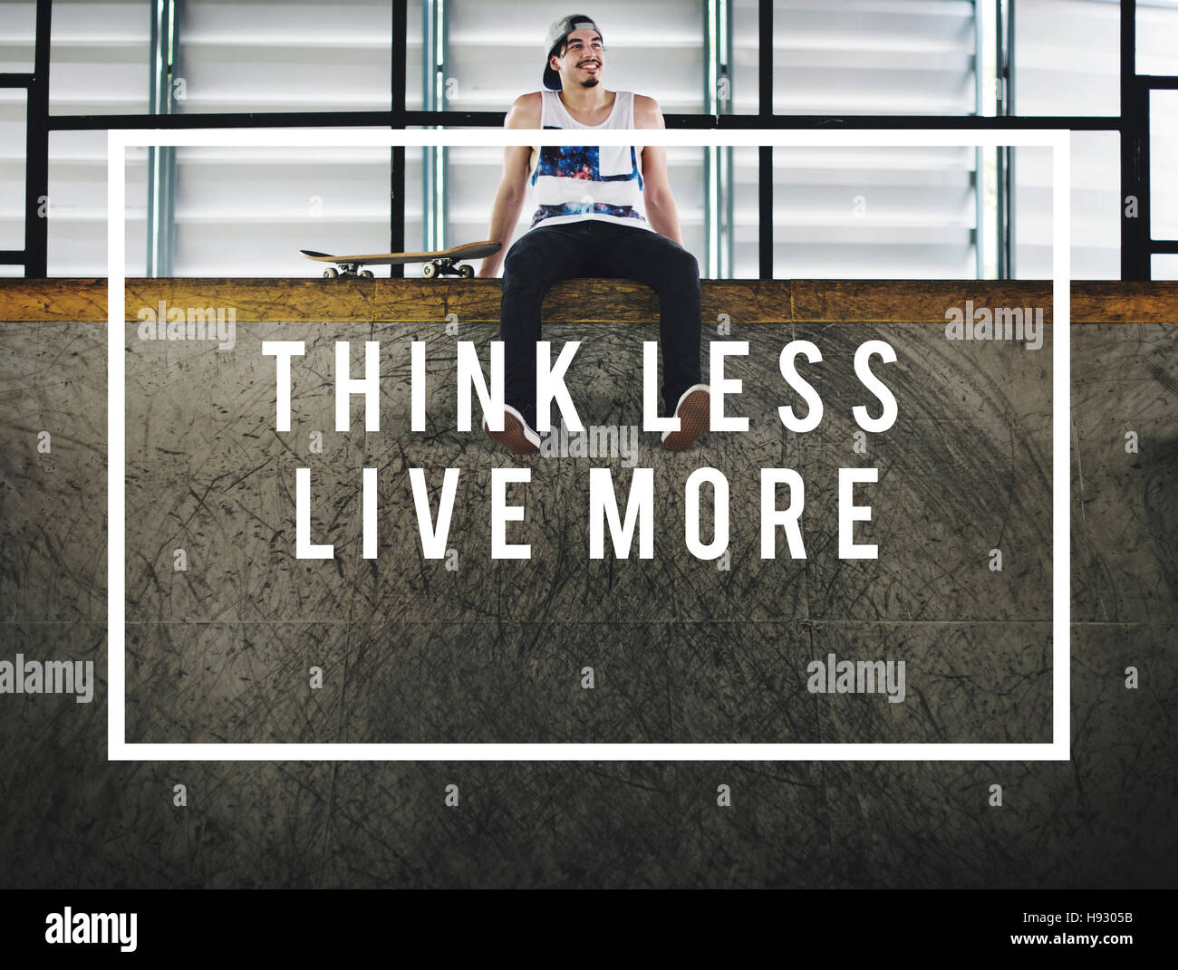 Think Less Live More Live Your Life Freedom Concept - Stock Image