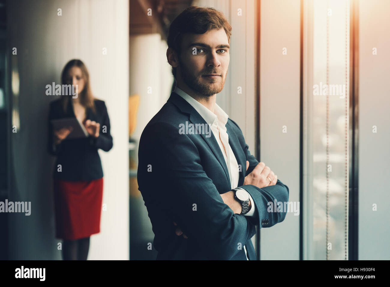 Group Of Business People In Office Interior Serious Man In Formal