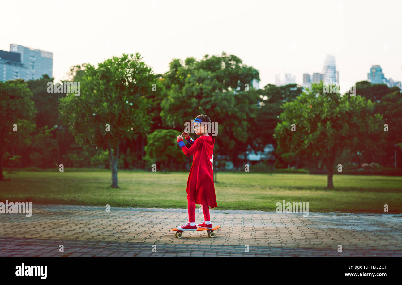 Superhero Boy Cute Happiness Fun Playful Concept - Stock Image