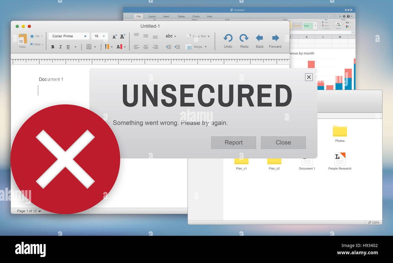 Unsecured Virus Detected Hack Unsafe Concept - Stock Image