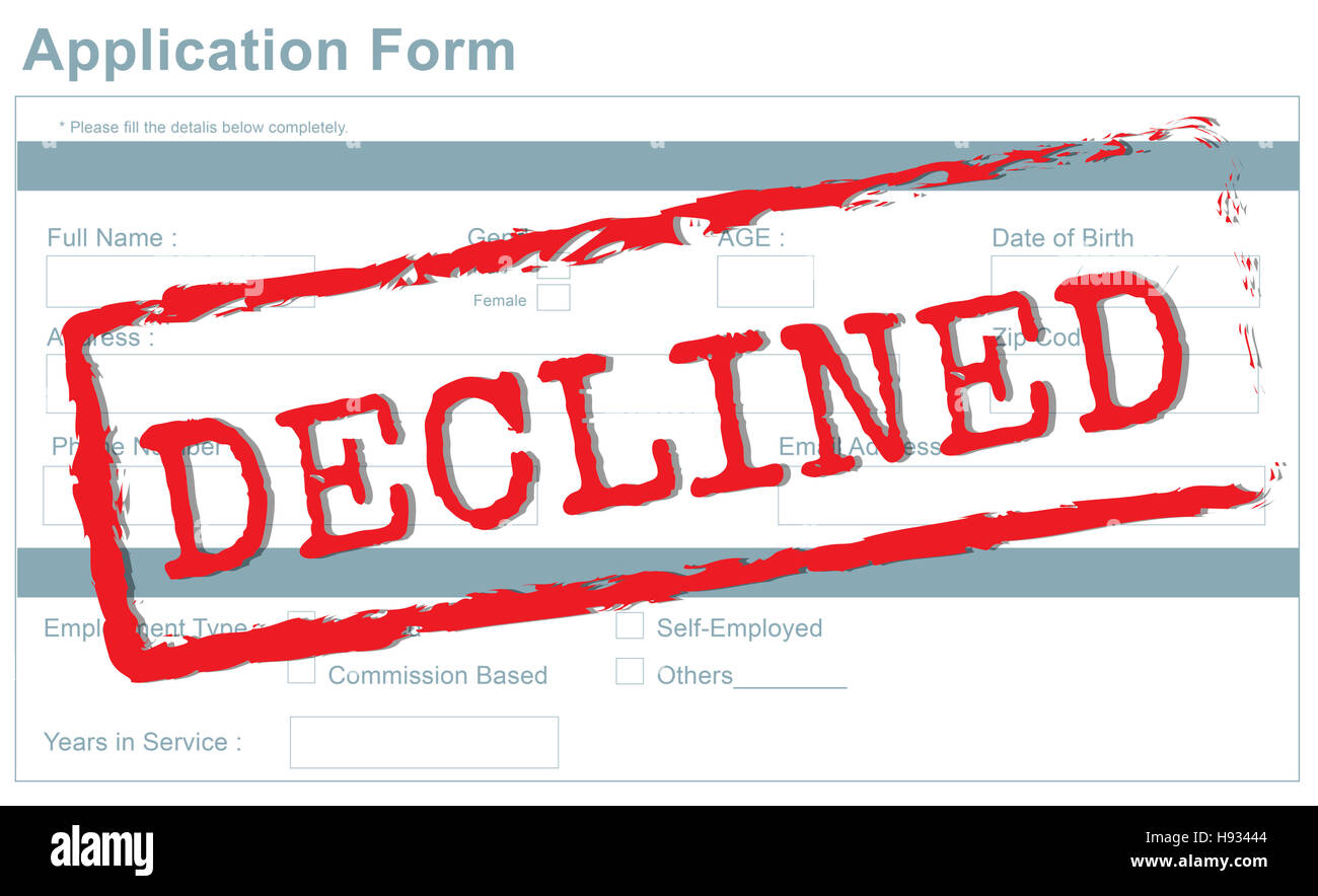Decline Declined Reject Rejection Refusal Concept - Stock Image