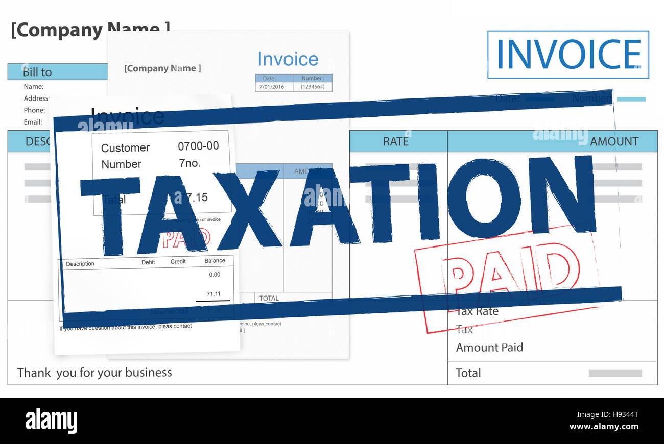 Invoice Bill Paid Payment Financial Taxation Concept - Stock Image