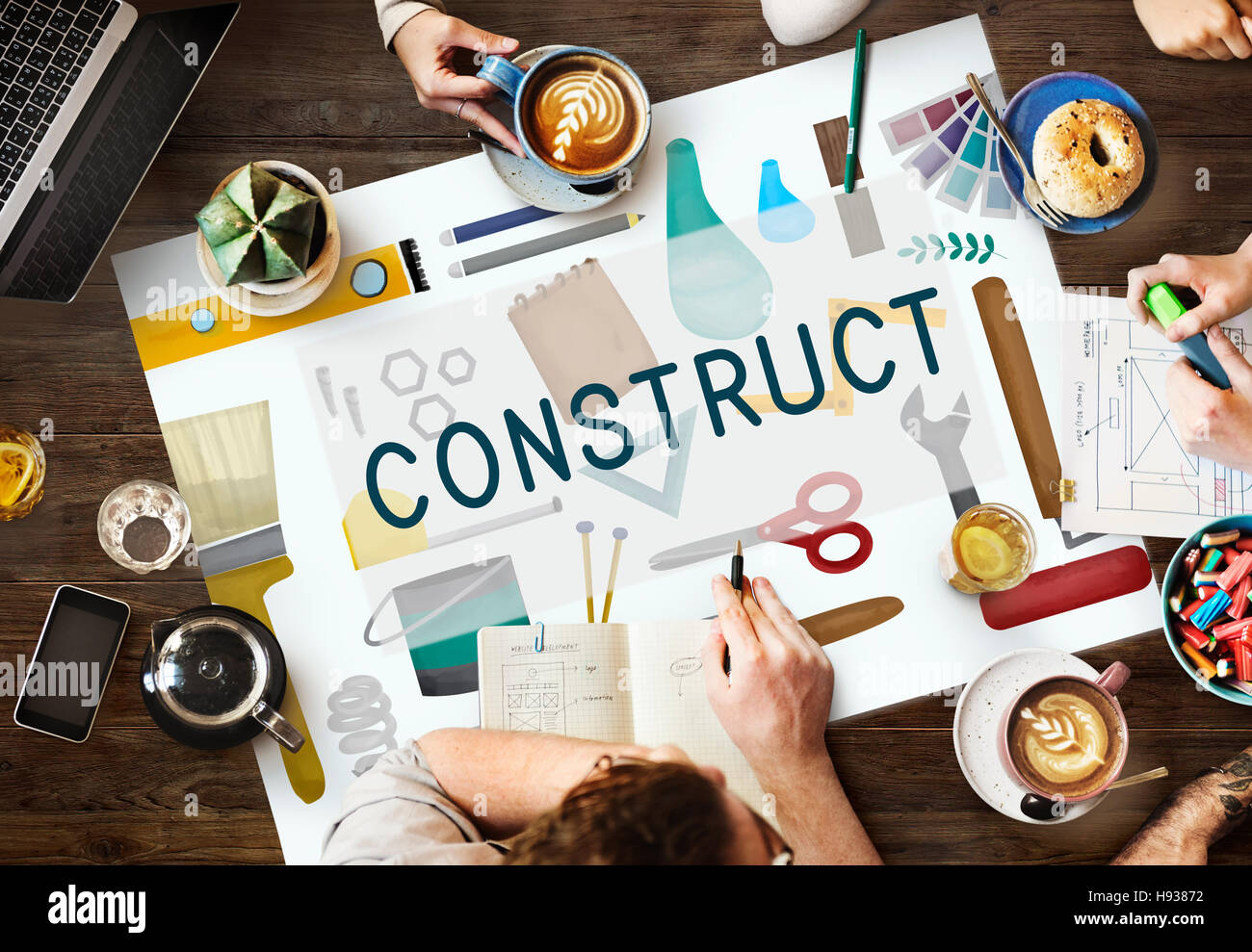 Construct Construction Equipment Architect Concept - Stock Image