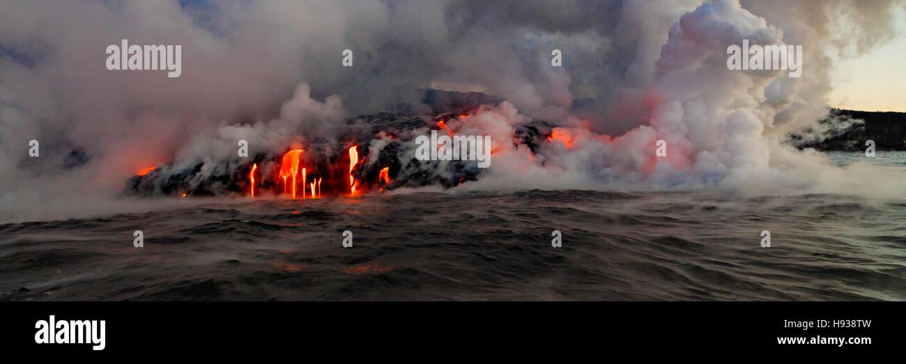 Lava Boat Tour, Kilauea Volcanon, HVNP. Island of Hawaii, Hawaii, panoramic - Stock Image