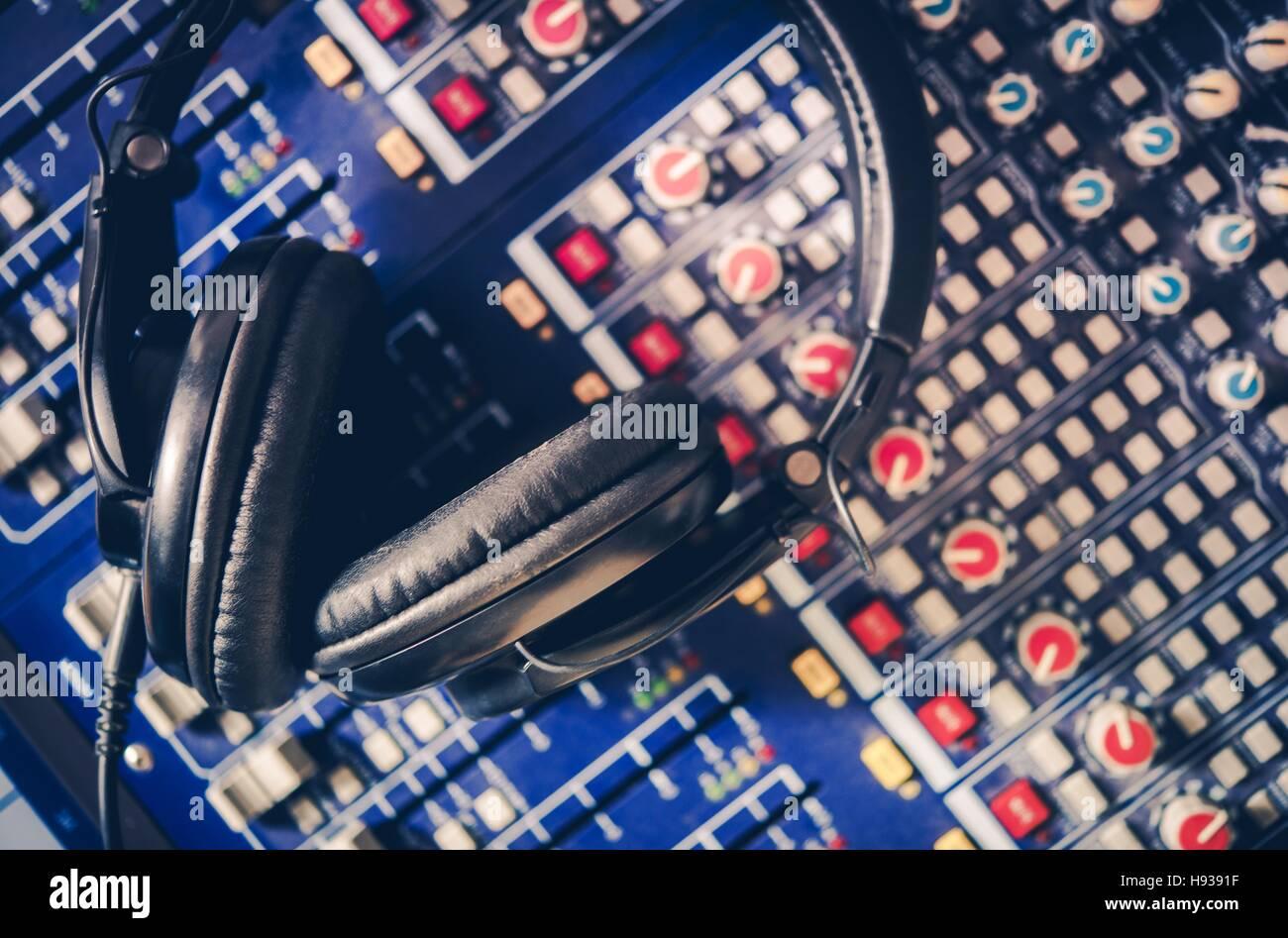 Pro Headphones on the Sound Mixing Table  Audio Mixer