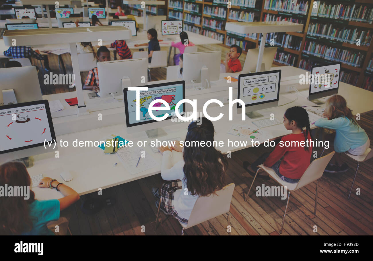 Teach Teaching Education Mentoring Coaching Training Concept - Stock Image