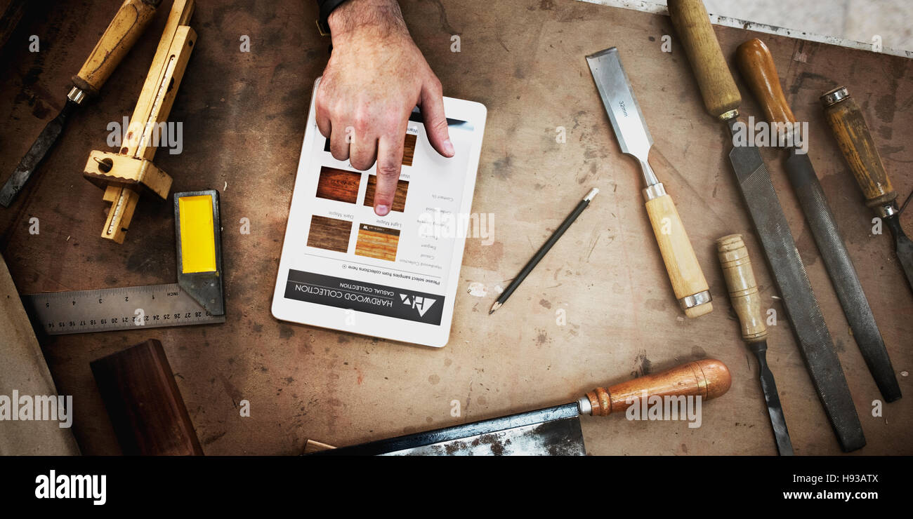 Carpenter Craftmanship Carpentry Handicraft Wooden Workshop Concept - Stock Image