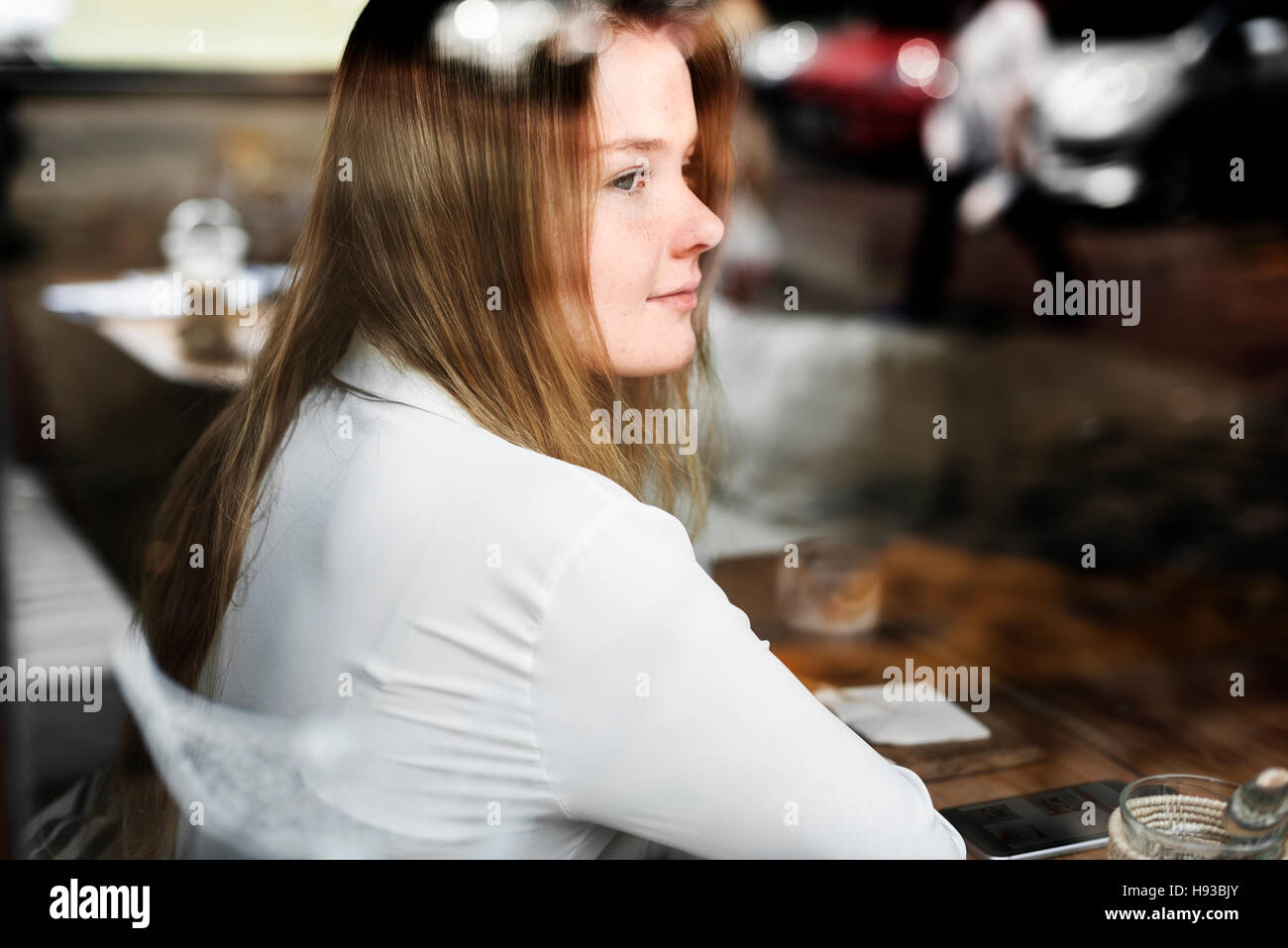 Young Girl Cafe Relaxation Contemplation Leisure Concept - Stock Image