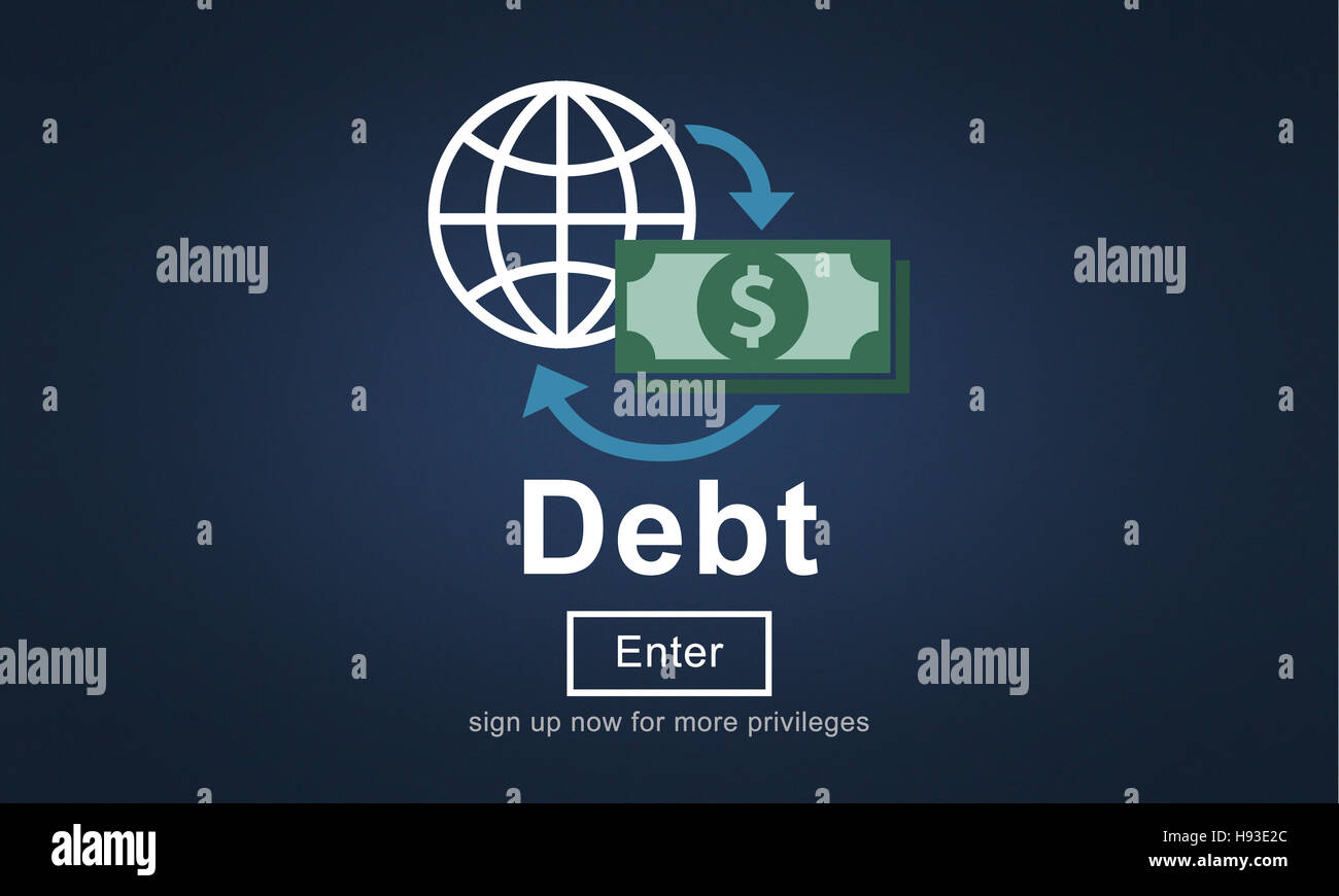 Debt Loan Credit Money Financial Problem Concept - Stock Image