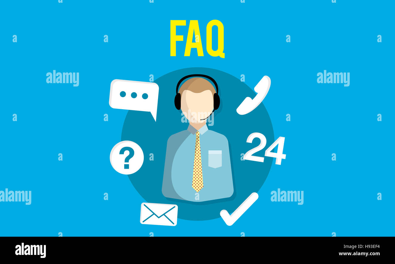 FAQ Enquiry Questions Guide Customer Support Concept - Stock Image