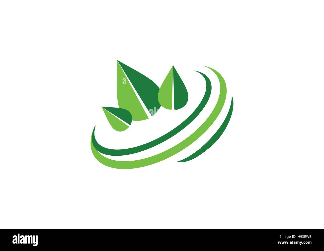 Circle Green Leaves Logo Ecological Balance Symbol Ecology Green