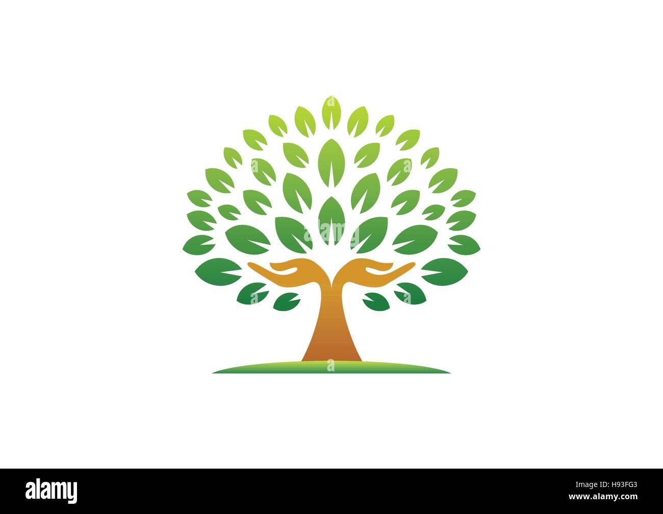 hand tree logo, natural hands tree wellness concept icon, yoga health care symbol vector design - Stock Image