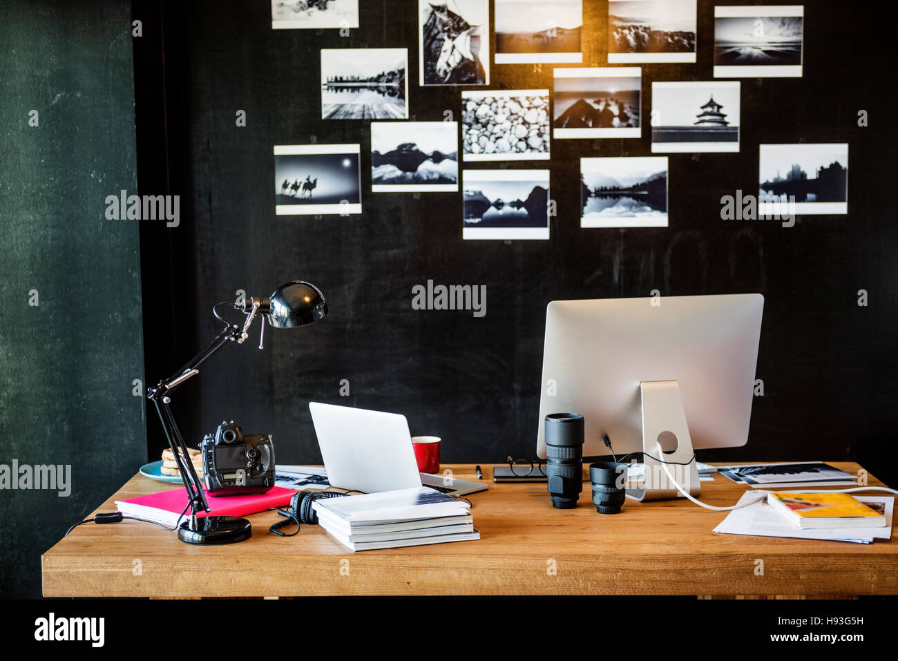 Man Busy Photographer Editing Home Office Concept - Stock Image