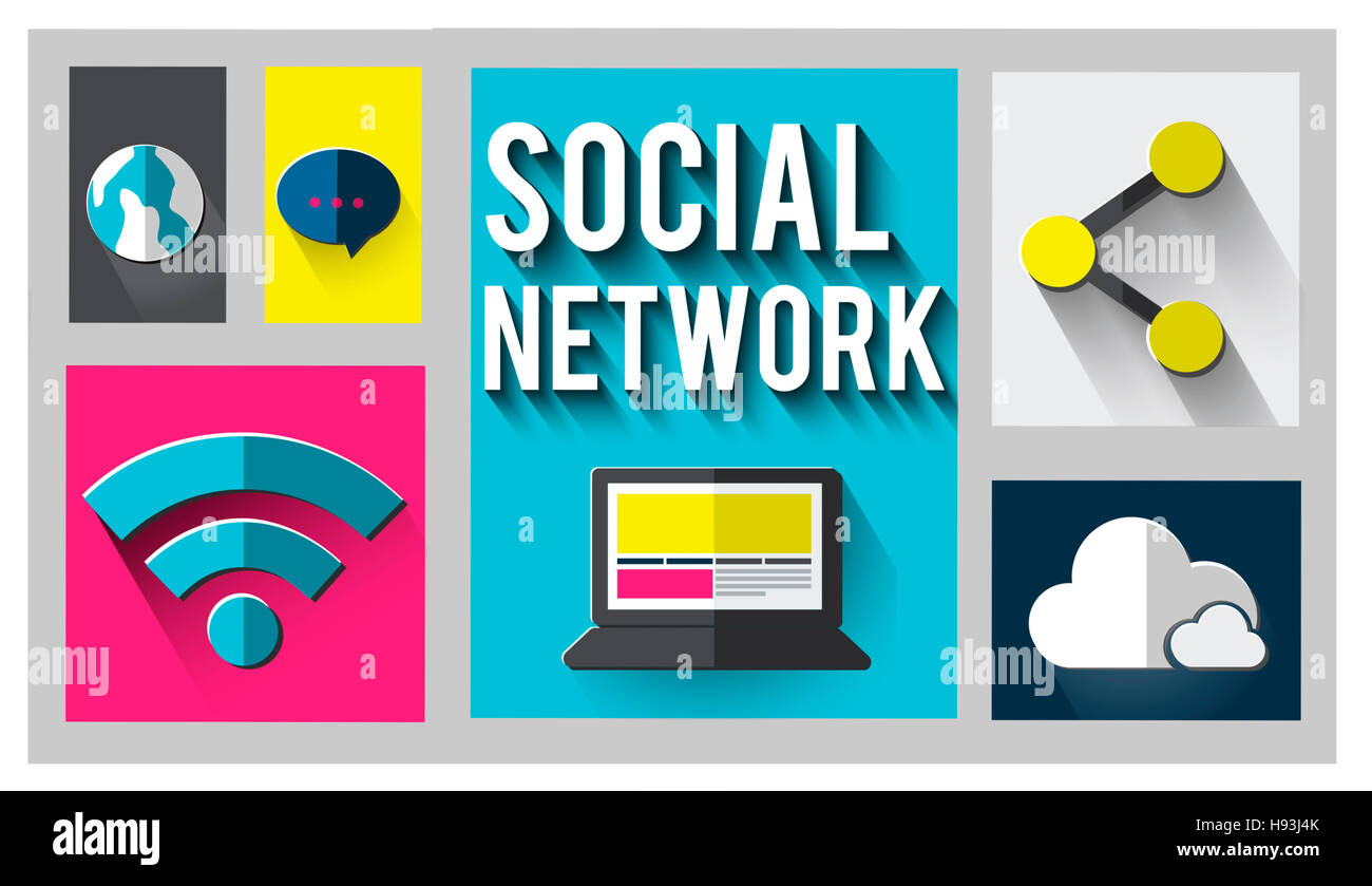 Social Network Global Communications Networking Concept - Stock Image