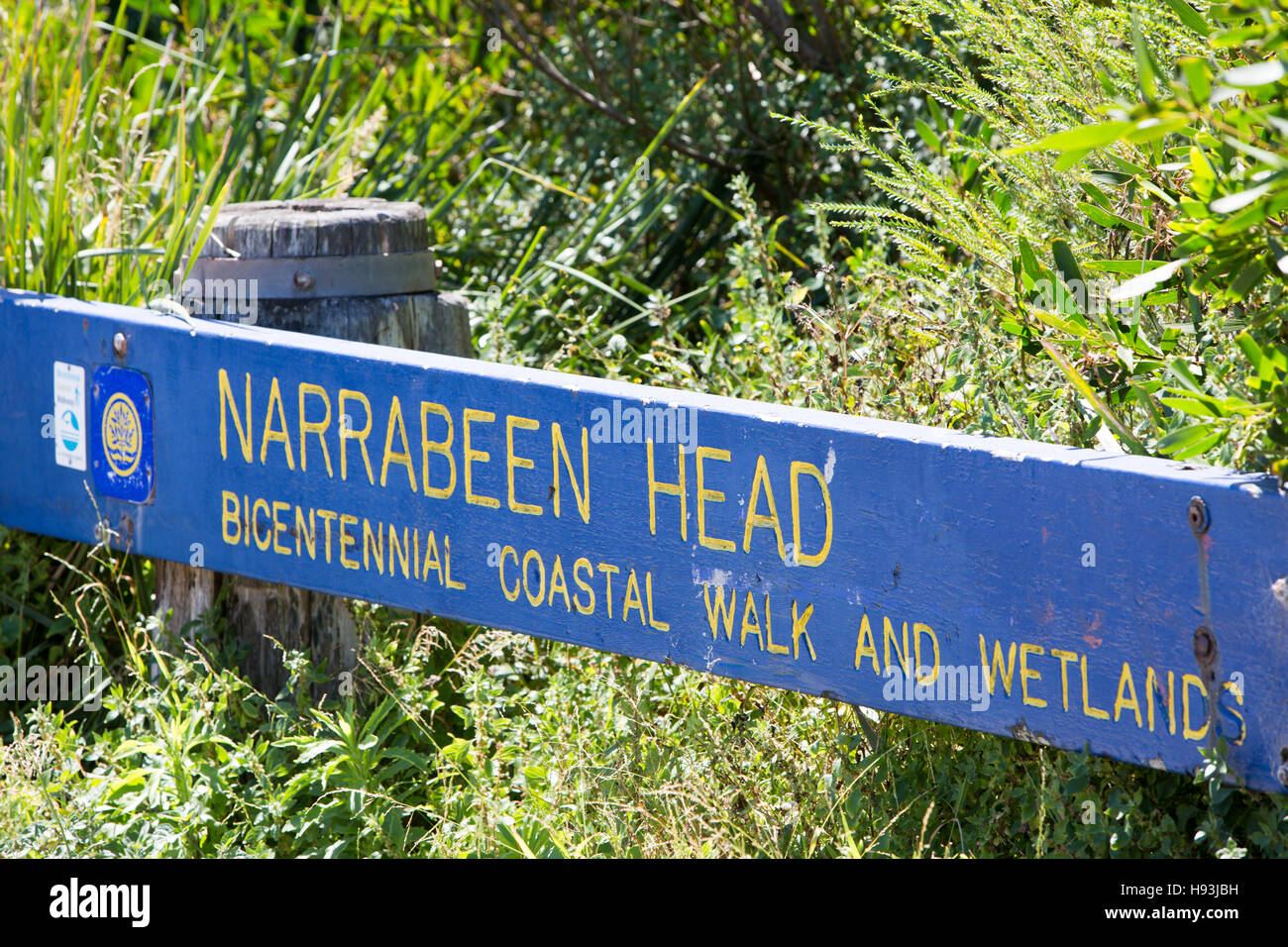 sign for Narrabeen head and bicentennial coastal walk and wetlands on Sydney northern beaches,new south wales,australia - Stock Image