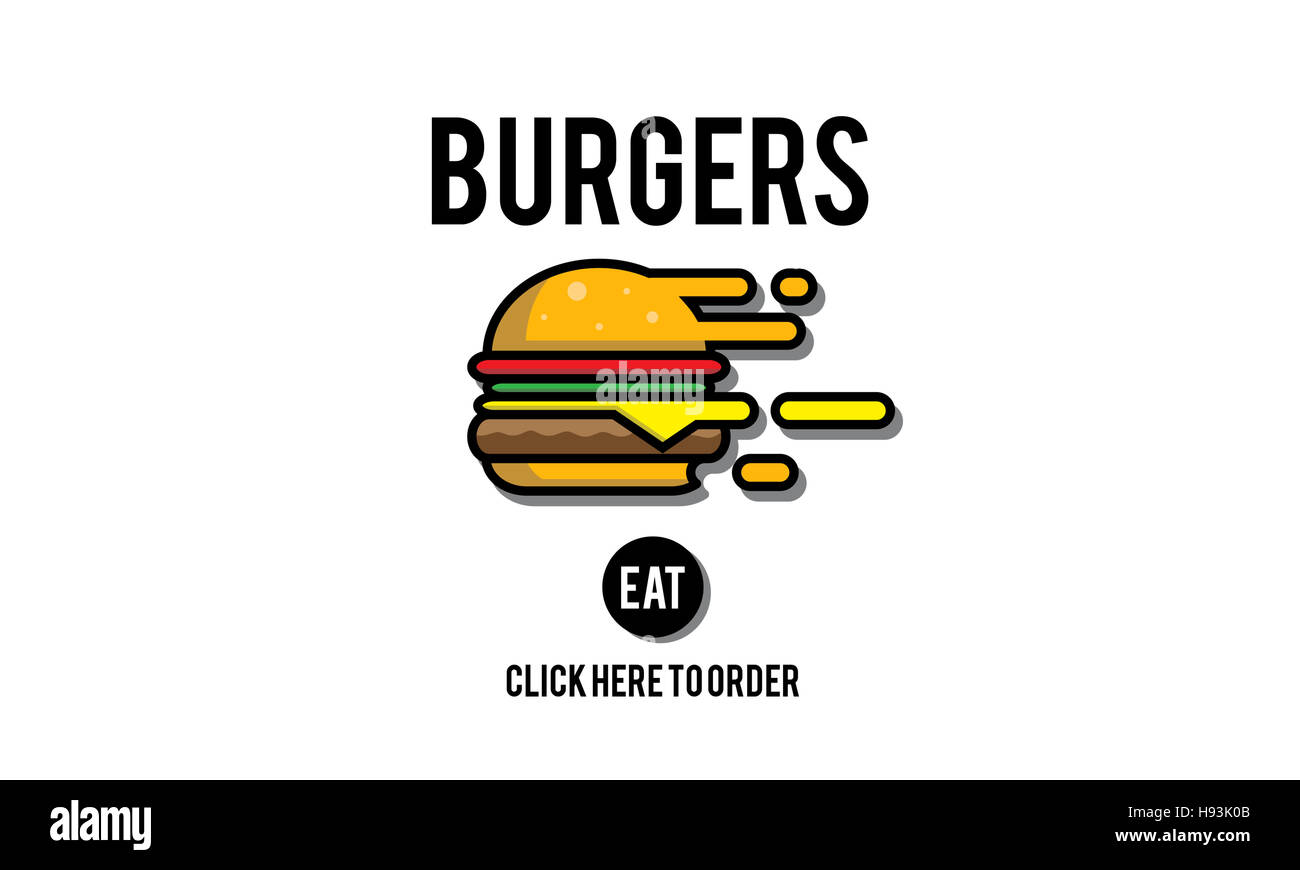 Burgers Online Buying Junk Food Nourishment Concept Stock Photo